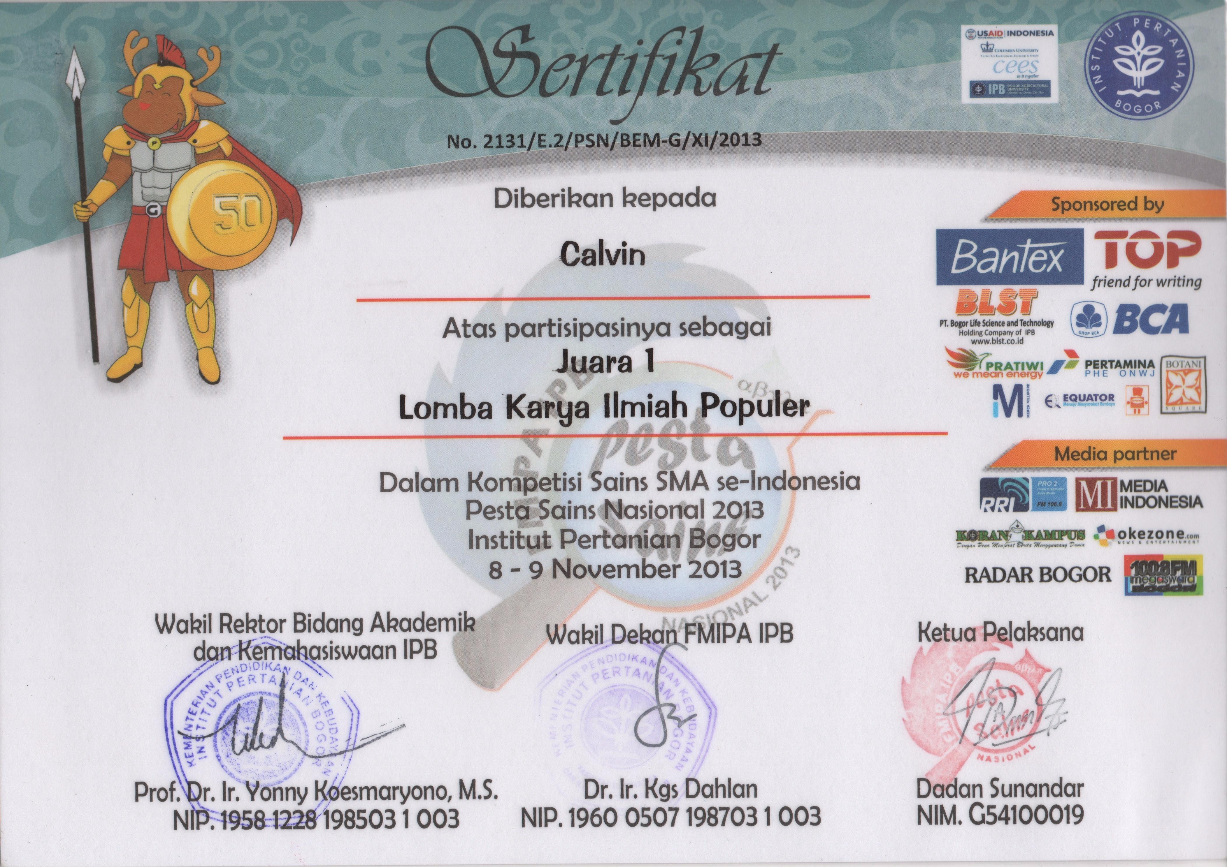 Sertifikat Juara 1 Lomba Karya Ilmiah Populer (LKIP), Pesta Sains Nasional (PSN) 2013 - Calvin Susanto.jpeg
