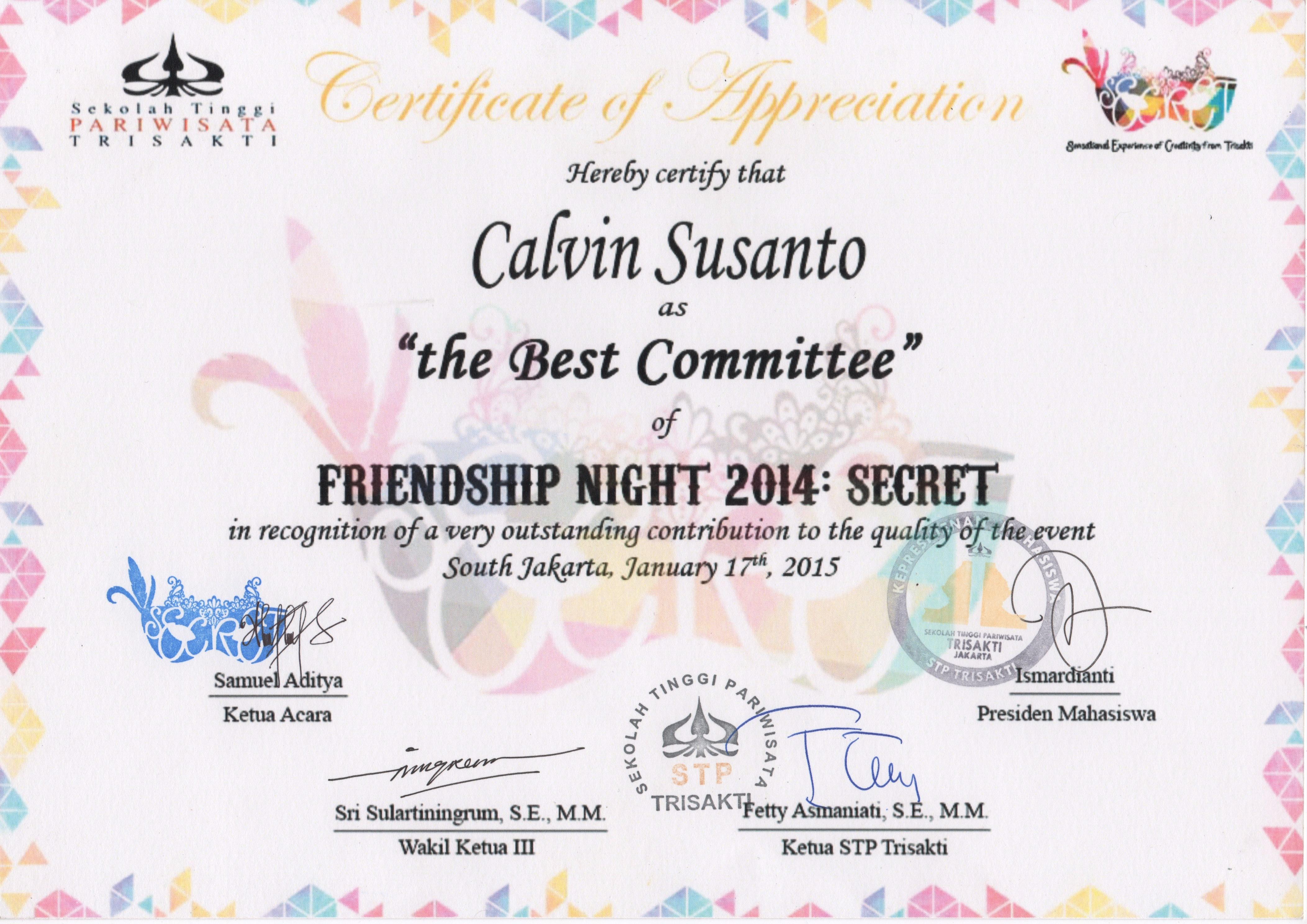 Certificate of Appreciation The Best Committee Friendship Night 2014 SECRET - Calvin Susanto.jpeg
