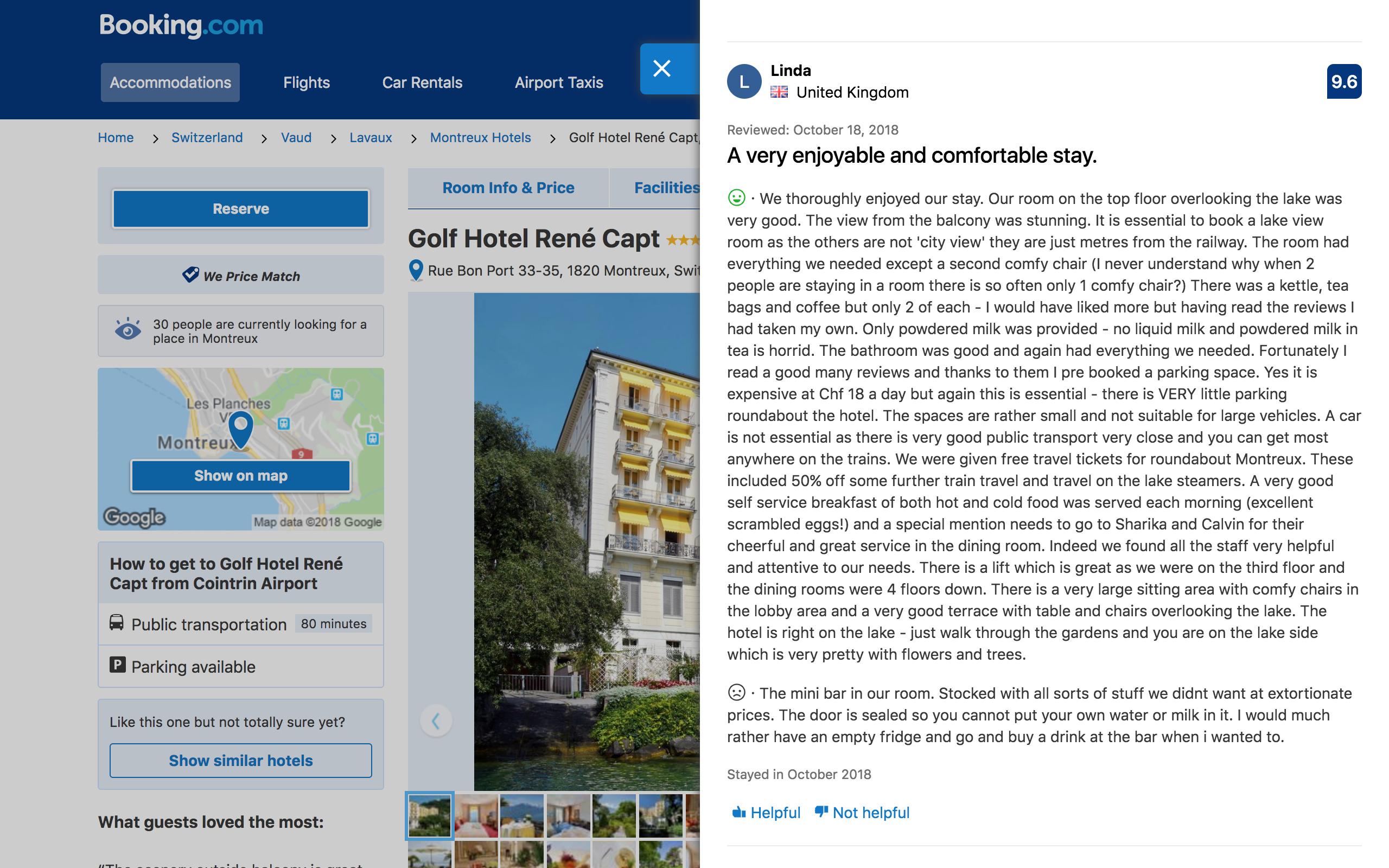 Guest Review at Golf-Hôtel René Capt, Montreux on 18 October 2018.png