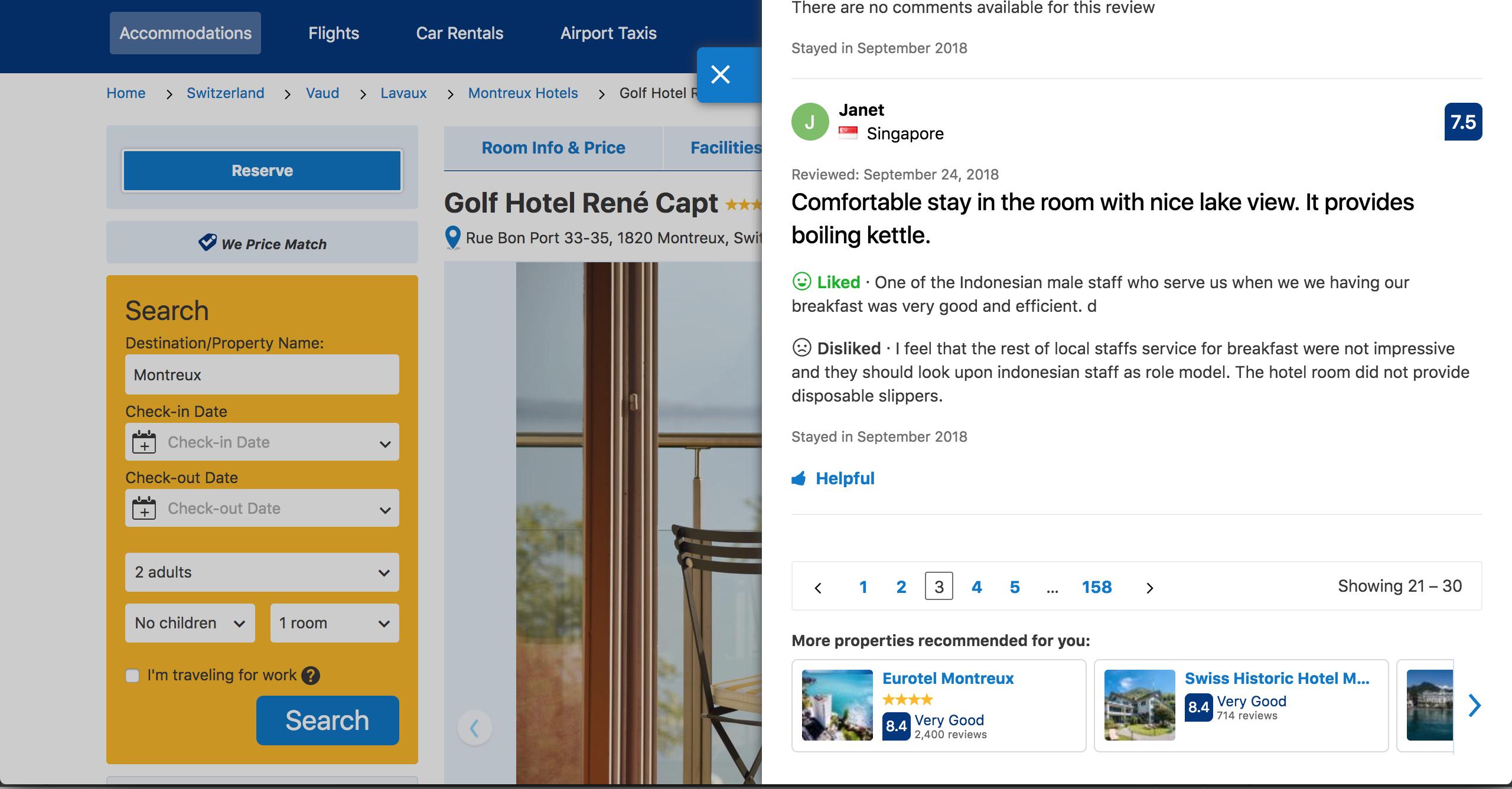 Guest Review at Golf-Hôtel René Capt, Montreux.png