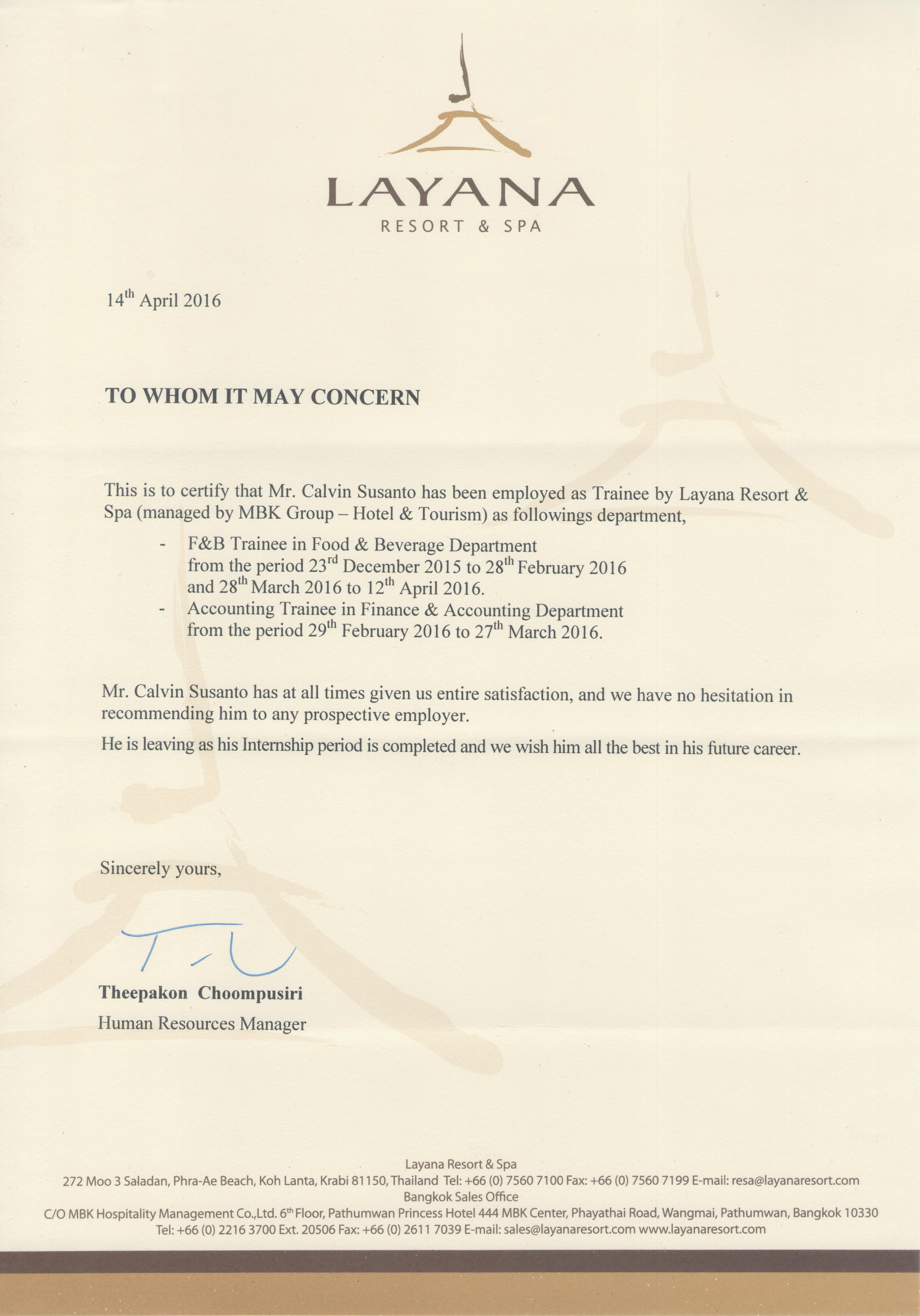 Letter of Recommendation by Theepakon Choompusiri as Human Resources Manager - Calvin Susanto 58110675.jpg